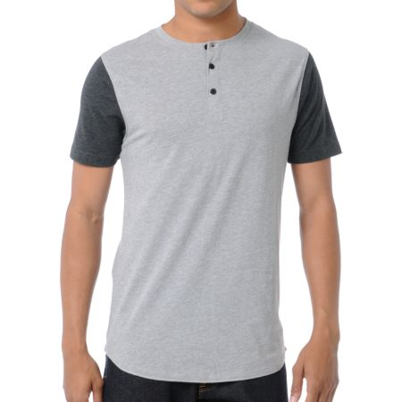 Dravus Home Run Charcoal Grey Henley Baseball Tee Shirt