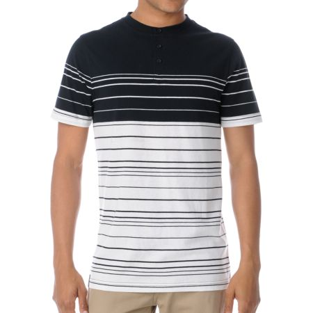 Empyre Duke Black & White Stripe Henley Tee Shirt