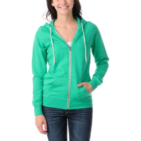 Zine Girls Deep Mint Green Zip Up Hoodie