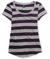 Zine Girls Purple & Grey Stripe Scoop Neck Tee Shirt