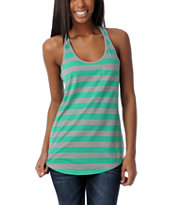 Zine Girls Green & Heather Grey Racerback Tank Top