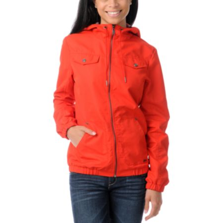 Empyre Girls Frisco Fire Red Windbreaker Jacket