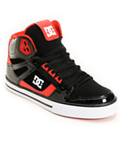 DC Spartan Hi Black Patent & Red Leather Skate Shoe