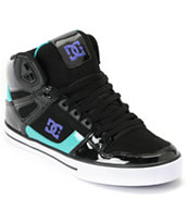 DC Spartan Hi Black, Teal & Purple Leather Skate Shoe