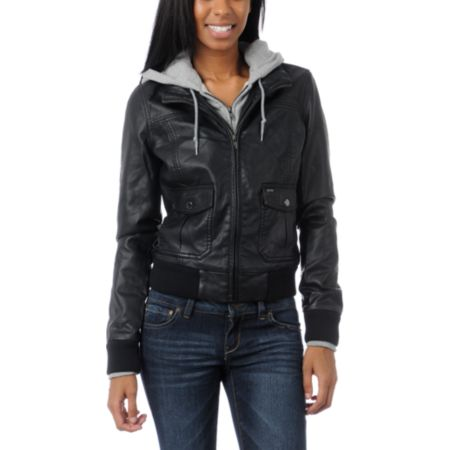 Obey Jealous Lover Girls Black & Grey Bomber Jacket