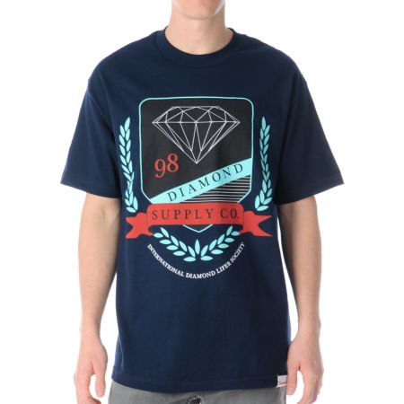 Diamond Supply Diamond Society Navy Tee Shirt