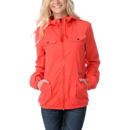 Volcom Girls Enemy Lines Fire Red Windbreaker Jacket