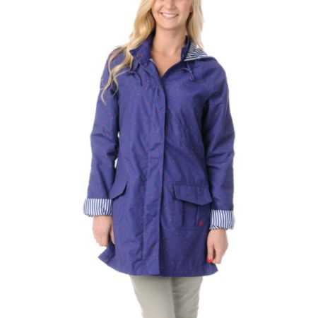 Volcom Girls In Da Bag Blue Rain Jacket