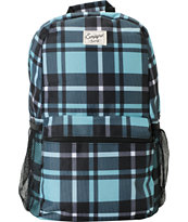 Empyre Girls Black & Turquoise Plaid Roll Call Laptop Backpack