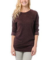Obey Girls Echo Mountain Raisin Crew Neck Sweatshirt