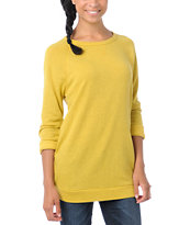Obey Girls Echo Mountain Yellow Crew Neck Sweatshirt