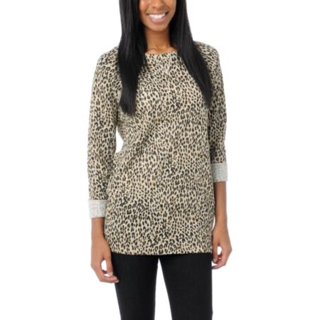 Obey Girls Echo Mountain Leopard Print Crew Neck Sweatshirt