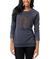 Obey Girls OG Leopard Navy Crew Neck Sweatshirt