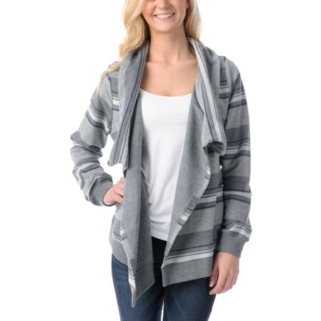 Element Girls Josefien Heather Grey Stripe Wrap Sweatshirt