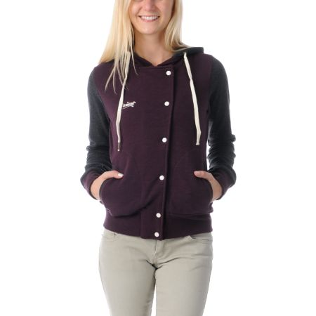 Element Girls Sandbox Eggplant Hooded Varsity Jacket