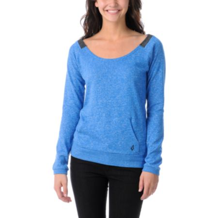 Volcom Girls Moclov Bold Blue Crew Neck Sweatshirt