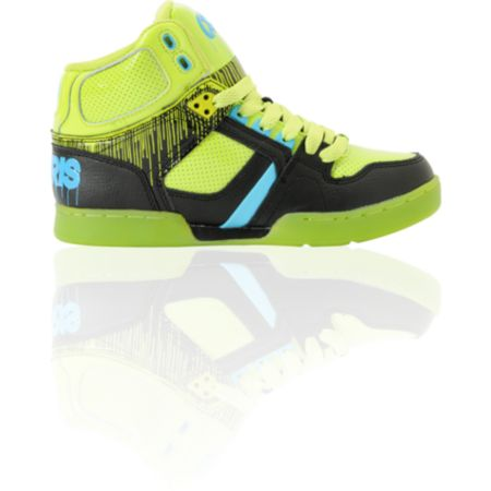 Osiris Kids NYC 83 Lime Drip, Black & Cyan Skate Shoe