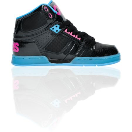 Osiris Girls NYC 83 Slim Black, Cyan & Magenta Shoe