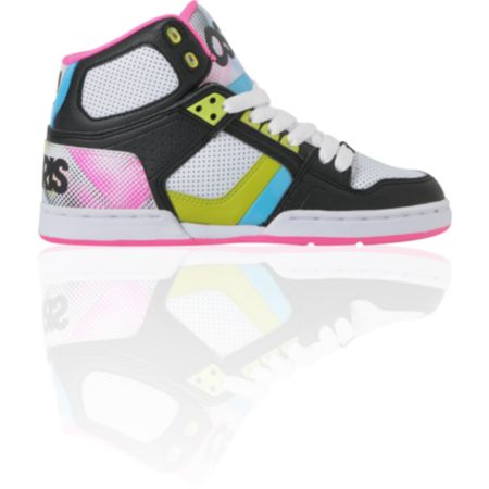 Osiris Girls NYC 83 Slim Black, Pink & Hypertone Shoe