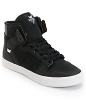 Supra Vaider Black TUF, Canvas & White Skate Shoe