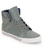 Supra Skytop Grey & Purple Leather Skate Shoe