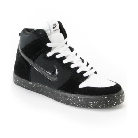 Nike Dunk High LR Black, White & Skunk Skate Shoe
