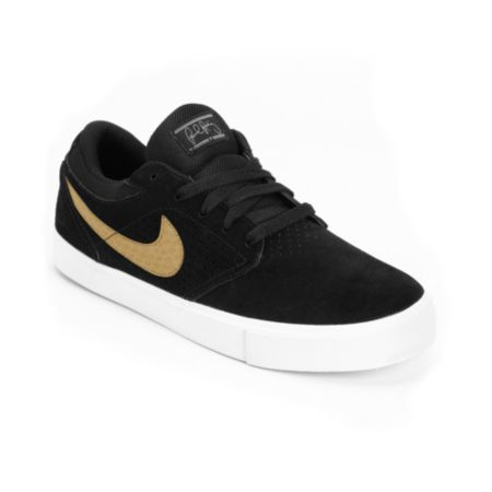 Nike SB P-Rod 5 LR Lunarlon Black, White & Metallic Gold Vulc Skate Shoe