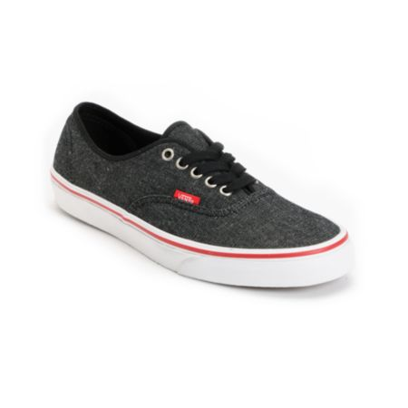 Vans Authentic Black Denim & Red Shoe