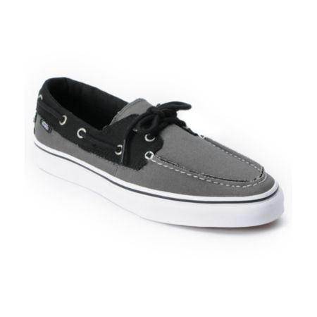 Vans Zapato Del Barco 2 Tone Pewter Grey & Black Boat Shoes