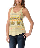 Empyre Girls Yellow Casey Native Feather Racerback Tank Top