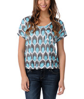 Empyre Girls Aqua & White Hatfield Honey Comb Print Tee Shirt