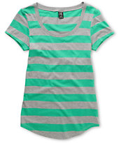 Zine Girls Green & Grey Stripe Scoop Neck Tee Shirt