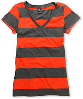 Zine Girls Fire Red & Charcoal Rugby Stripe V-Neck Tee Shirt
