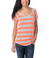 Ralik Wham! Neon Coral Striped Tee Shirt