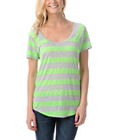 Ralik Wham! Neon Green Striped Tee Shirt