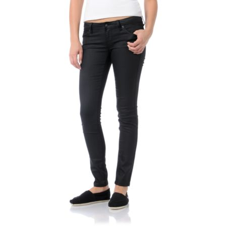 Empyre Girls Logan Black Wax Skinny Jeggings