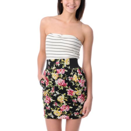 Love, Fire Aurora Black Floral Tube Dress