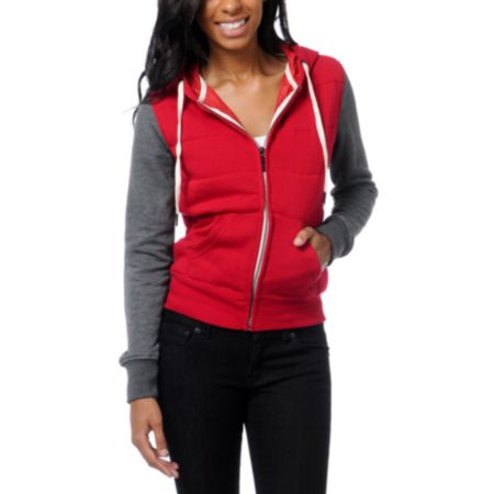 Empyre Girls Shelby Jester Red & Charcoal Grey Zip Up Hoodie