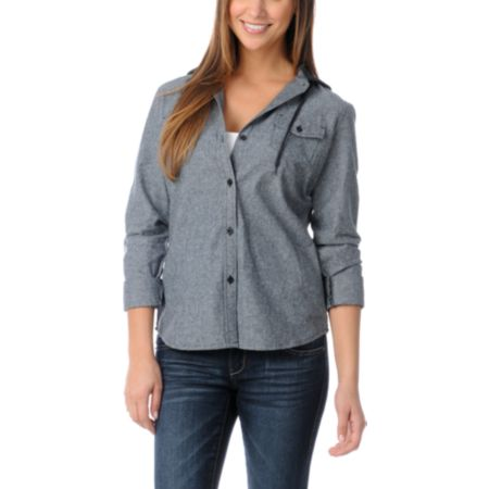 Empyre Girls Conifer Black Chambray Hooded Flannel Shirt