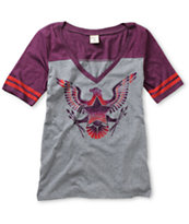 Empyre Girls Valley Grey & Purple Football V-Neck Tee Shirt