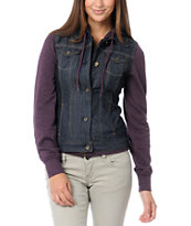 Empyre Girls Roanoke Purple Hooded Denim Vest Jacket