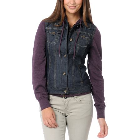 Empyre Girls Roanoke Purple Hooded Jean Vest Jacket