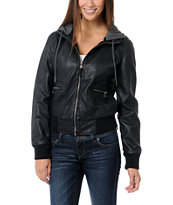 Empyre Girls Sierra Black Hooded Bomber Jacket
