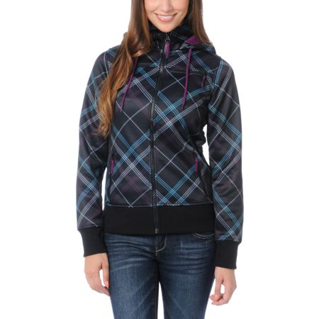 Empyre Girls Timber Black & Purple Plaid Full Zip Tech Fleece Jacket