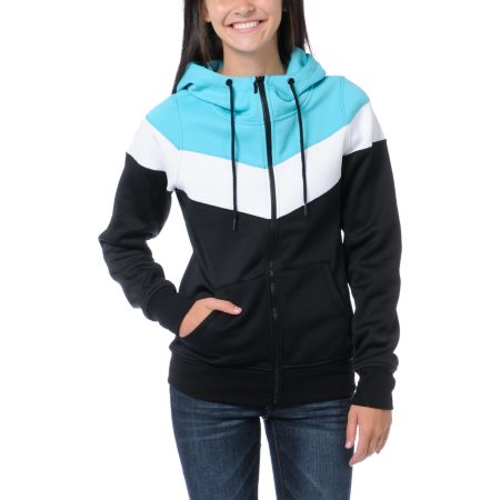 Empyre Girls Insignia Black & Teal Full Zip Tech Fleece Jacket