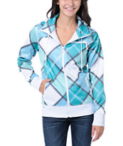 Empyre Girls Timber White & Teal Plaid Tech Fleece Jacket