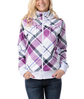 Empyre Girls Timber White & Purple Plaid Tech Fleece Jacket
