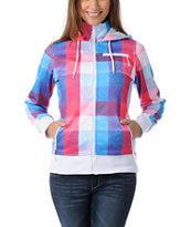 Empyre Girls Timber Pink & Blue Plaid Tech Fleece Jacket