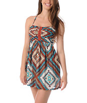 Billabong Davenport Rust Red Tribal Woven Dress