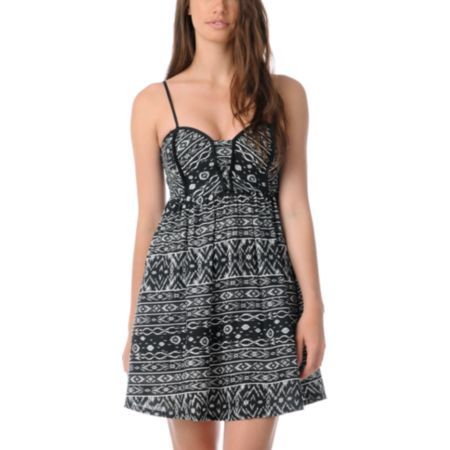 Billabong Tucked Away Tribal Print Woven Dress